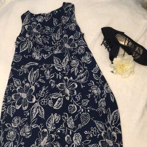 Chaps Navy Floral Maxi Dress